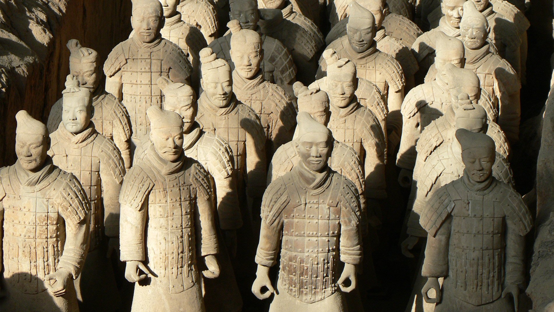 Terracotta Warriors~The three archaeological pits containing the Terracotta Army hold more than 8,000 soldiers, 130 chariots with 520 horses, and 150 cavalry horses.